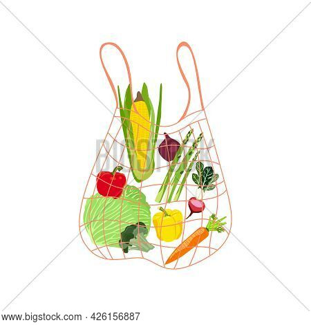 Shopping Bag With Vegetables Vector. The Shopper Has Corn, Onions, Cabbage, Radishes, Bell Peppers,