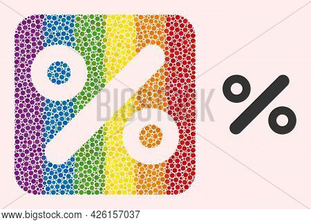 Dotted Mosaic Percent Subtracted Pictogram For Lgbt. Color Rounded Rectangle Mosaic Is Around Percen