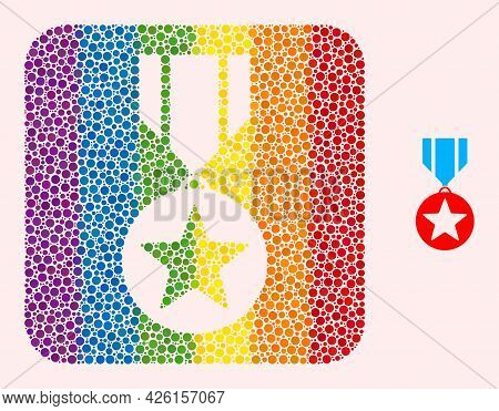 Dot Mosaic Star Medal Subtracted Pictogram For Lgbt. Rainbow Colored Rounded Square Mosaic Is Around