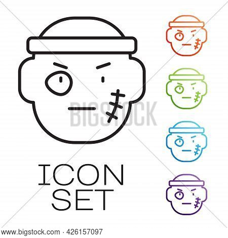 Black Line Bandit Icon Isolated On White Background. Set Icons Colorful. Vector