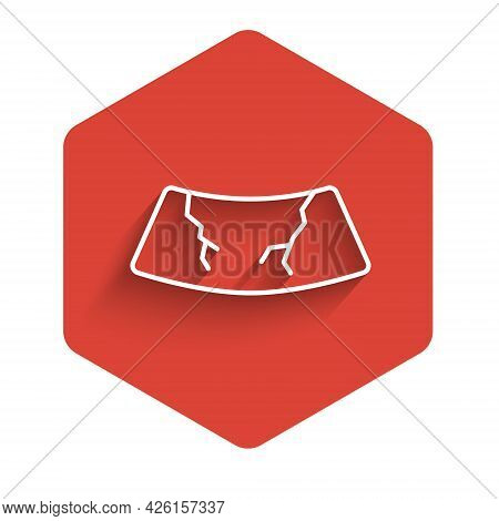 White Line Broken Windshield Cracked Glass Icon Isolated With Long Shadow. Red Hexagon Button. Vecto