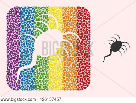 Dotted Mosaic Infection Microbe Subtracted Pictogram For Lgbt. Rainbow Colored Rounded Rectangle Col