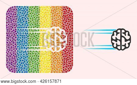 Dotted Mosaic Rush Brain Subtracted Icon For Lgbt. Multicolored Rounded Square Mosaic Is Around Rush