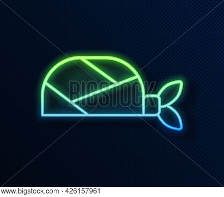 Glowing Neon Line Pirate Bandana For Head Icon Isolated On Blue Background. Vector