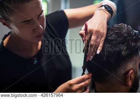 Feeling Fresh After Shaving. Mature Hipster With Beard At Hairdresser. Brutal Hipster Making New Hai