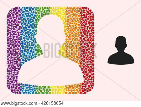 Dotted Mosaic Person Profile Stencil Icon For Lgbt. Color Rounded Square Mosaic Is Around Person Pro