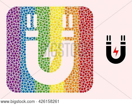 Dotted Mosaic Magnetic Power Subtracted Icon For Lgbt. Rainbow Colored Rounded Rectangle Mosaic Is A