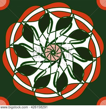Ethnic Colourful Symmetrical Design In Circle Shape. Green And Orange Combination. Indian Motif Patt