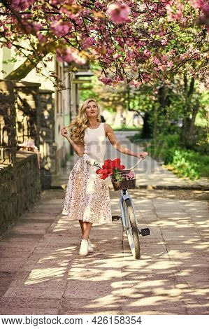 Summer Vacation. Cycling Tours. Bike Ride Adventure. Urban Excursion. Cherry Tree Blooming. Woman Ri
