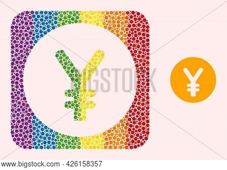 Dotted Mosaic Yen Coin Hole Icon For Lgbt. Multicolored Rounded Square Mosaic Is Around Yen Coin Sub