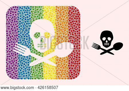 Dotted Mosaic Toxic Food Subtracted Pictogram For Lgbt. Rainbow Colored Rounded Square Mosaic Is Aro