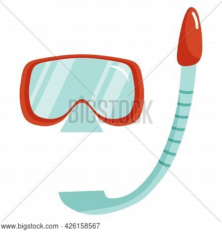 Vector Illustration Of Scuba Mask And Snorkel Isolated On White Background In Cartoon Flat Style. Sw