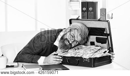 Happiness And Success. Businessman Hand Holding Briefcase. Suitcase With Money. Good Deal. Modern Li