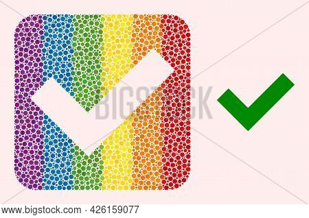 Dotted Mosaic Okay Carved Pictogram For Lgbt. Rainbow Colored Rounded Square Mosaic Is Around Okay S