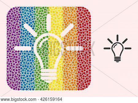 Dotted Mosaic Light Bulb Stencil Pictogram For Lgbt. Multicolored Rounded Square Mosaic Is Around Li