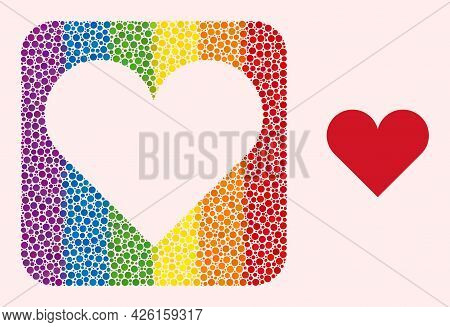Dotted Mosaic Playing Card Heart Suit Hole Icon For Lgbt. Rainbow Colored Rounded Rectangle Mosaic I