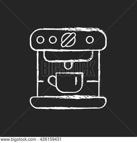 Espresso Machine Chalk White Icon On Dark Background. Commercial Appliance For Cafe. Professional Co