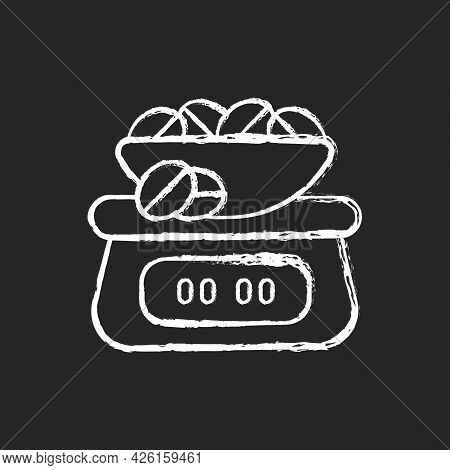Coffee Scale Chalk White Icon On Dark Background. Appliance For Measuring Beans Weight. Weighing Roa