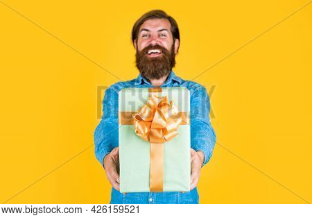 Shocked And Happy. Bearded Man Ready For Holiday. Sale And Discount. Mature Hipster With Beard Hold