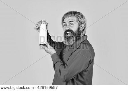 Milk Breakfast Menu. Happy Farmer Present Milk Glass. Bearded Man Drink Useful Milk. Exercising And