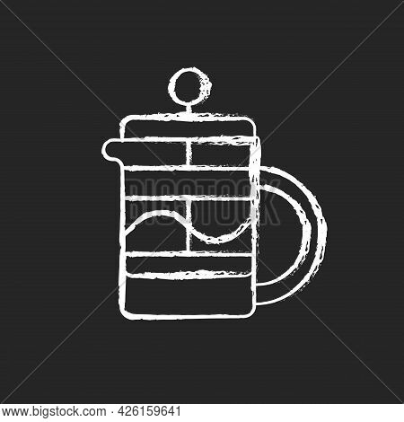 French Press Chalk White Icon On Dark Background. Kitchen Utensil For Preparing Coffee And Tea. Hous
