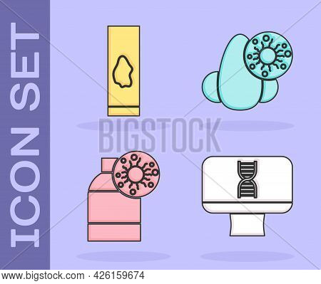 Set Dna Spiral And Computer, Blood Test And Virus, Bottle With Virus And Runny Nose And Virus Icon.