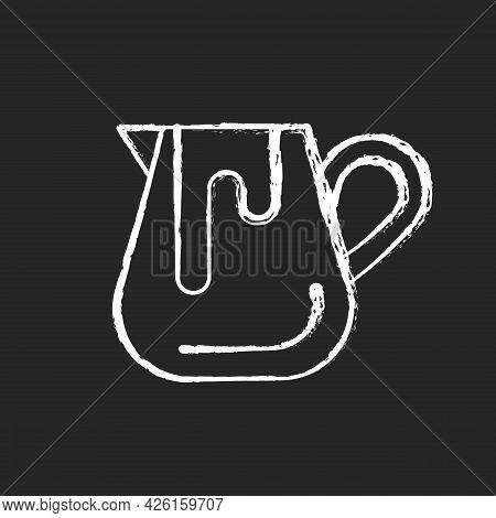 Milk Jug Chalk White Icon On Dark Background. Pitcher For Professional Latte Art. Equipment For Coff