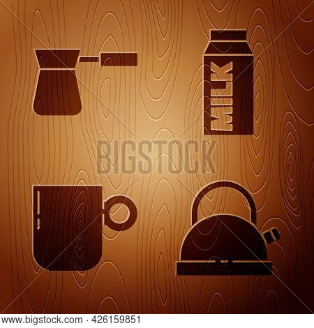 Set Kettle With Handle, Coffee Turk, Coffee Cup And Paper Package For Milk On Wooden Background. Vec