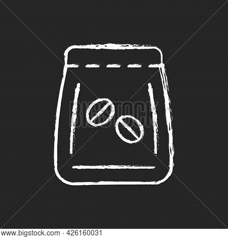 Coffee Beans Bag Chalk White Icon On Dark Background. Package For Brewing Espresso. Pack With Roaste