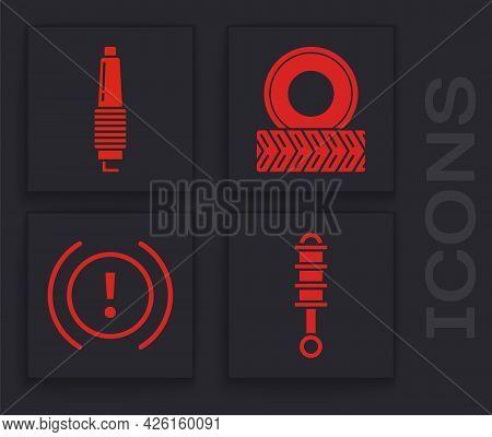 Set Shock Absorber, Car Spark Plug, Car Wheel And Brake System Warning Icon. Vector