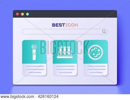 Set Test Tube And Flask Chemical, Test Tube And Flask Chemical And Bacteria Icon. Vector