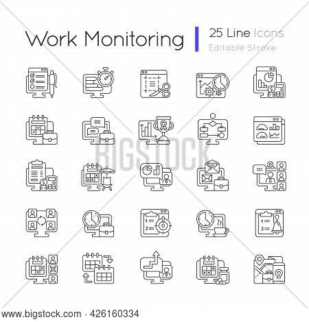 Work Monitoring Linear Icons Set. Employee Performance Control. Productivity For Collaborative Tasks