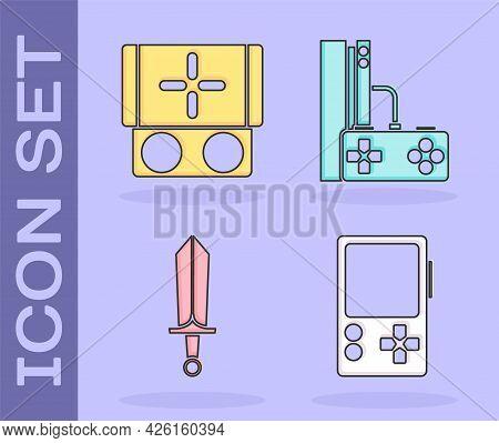 Set Portable Video Game Console, Portable Video Game Console, Sword For Game And Game Console With J