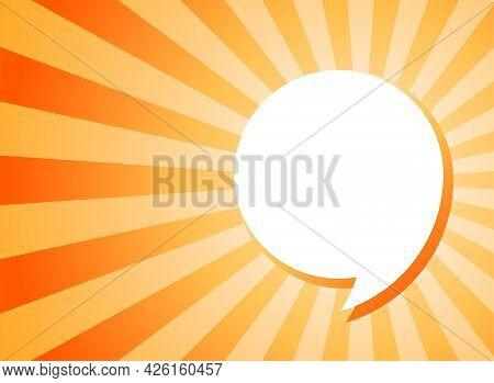 Shining Hint. White Comma Speech Bubble On Sunlight Shining Orange Background. Talk, Chat Message, C
