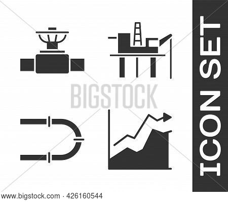 Set Oil Price Increase, Industry Pipe And Valve, Industry Pipe And Oil Platform In The Sea Icon. Vec