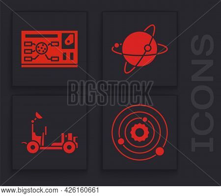 Set Solar System, Futuristic Hud Interface, Satellites Orbiting The Planet Earth And Mars Rover Icon