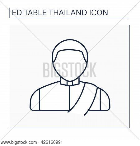 Man Line Icon. Thai Man In Traditional Suit. Country Citizen.thailand Concept. Isolated Vector Illus