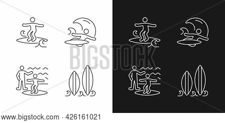 Surfboarding Linear Icons Set For Dark And Light Mode. Crumbly Waves Surfing. Flight Maneuver. Takin