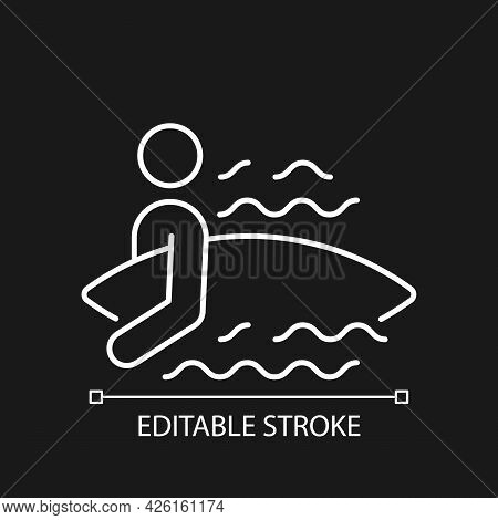 Surfer Entering Water White Linear Icon For Dark Theme. Surfing For First Time. Holding Surfboard. T