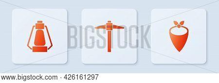 Set Pickaxe, Camping Lantern And Cowboy Bandana. White Square Button. Vector