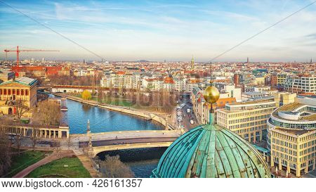 Aerial view over Spree river in Berlin