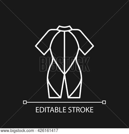 Wetsuit White Linear Icon For Dark Theme. Special Suit For Spending Time In Water. Keep Warmth. Thin
