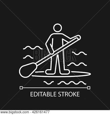 Paddle Board Surfing White Linear Icon For Dark Theme. Sup Surfing. Require Balance, Coordination. T