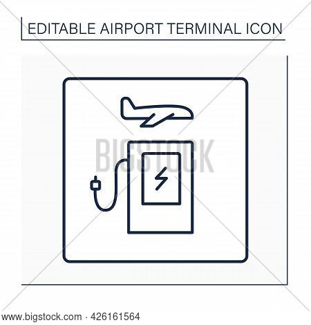 Public Charging Station Line Icon.electric Vehicle Charging Station, Electric Recharging Point For P