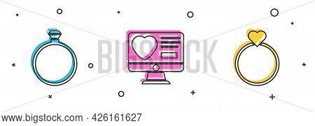 Set Diamond Engagement Ring, Dating App Online And Wedding Rings Icon. Vector
