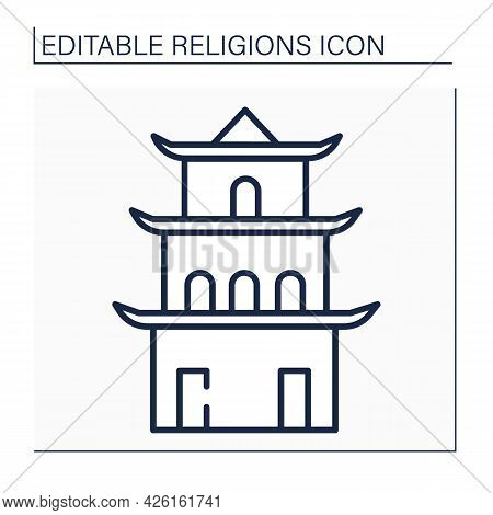 Taoism Line Icon. Main Temple In Chinese Culture. Traditional Place Of Worship In Taoism. Religion C