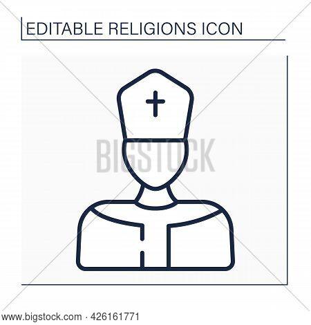 Pope Line Icon. Supreme Pontiff. Head Of Worldwide Catholic Church. Leader In Catholicism. Religion