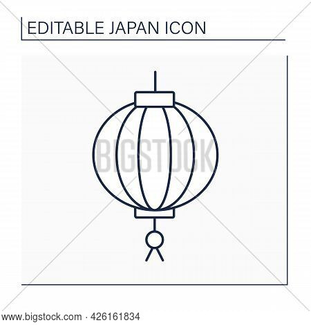 Lantern Line Icon. Thin, Brightly Colored Paper Lantern. Japanese Culture Concept. Isolated Vector I