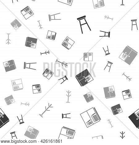 Set Chair, Library Bookshelf, Wardrobe And Coat Stand On Seamless Pattern. Vector