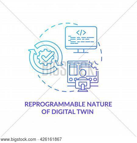 Reprogrammable Nature Of Digital Twin Concept Icon. Digital Twin Characteristics. Futuristic Smart P